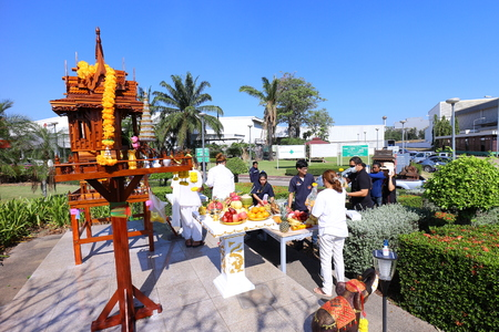 Rayong Thailand , December 07 - 2017 : Thai people's blessing on festival day