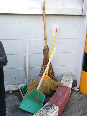 Rayong province Thailand , December 12 - 2017 : Broom and dustpan are defective. Editorial