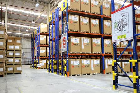 Rayong Thailand , Feb. 06 - 2018 : factory warehouse and raws material boxes. 에디토리얼