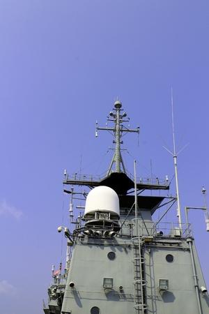 Chonburi Thailand , Feb.02 - 2018 : Radar tower on gun ship. Editorial