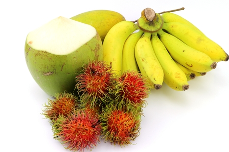 Thai sweet banana rambutan and coconut fruit Archivio Fotografico