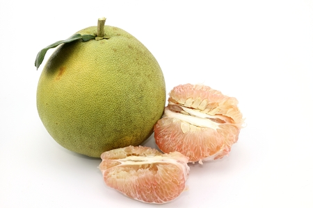 Sweet Pomelo fresh fruit on white background