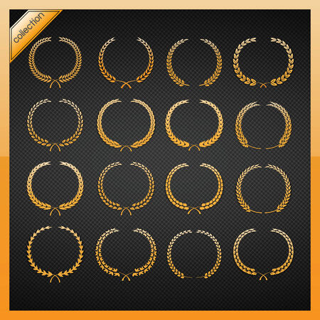 Golden laurel wreath collection  Vector