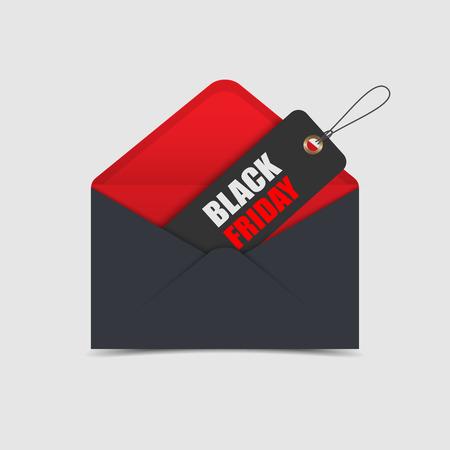 Black Friday verkoop tag in de envelop. Stock Illustratie