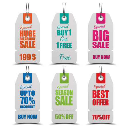 low prices: tags for sale.