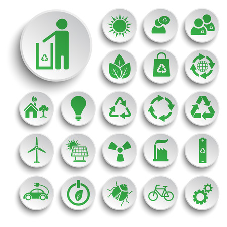 energy conservation: Ecology and recycle icons, vector Illustration