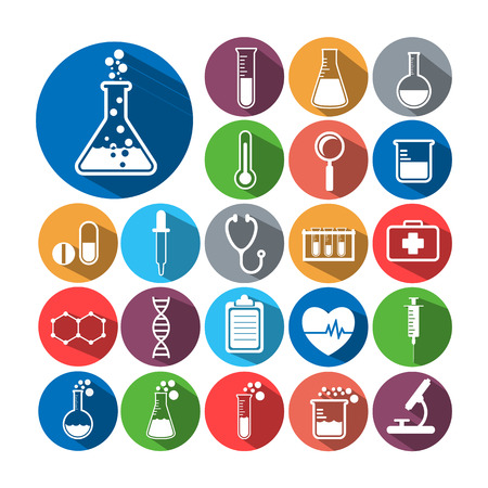 laboratory label: Set of science icons