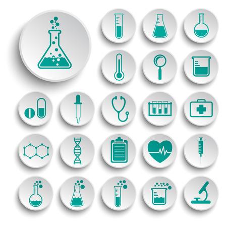 qu�mica: Conjunto de iconos de la ciencia