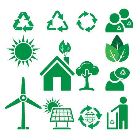 antipollution: Ecolog�a y reciclaje iconos, vector