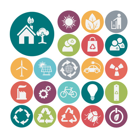 antipollution: Ecology and recycle icons, vector Illustration