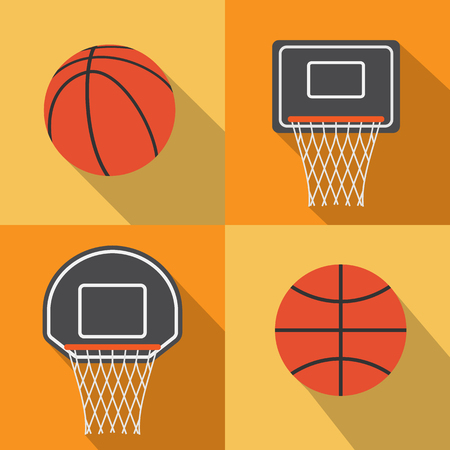 basketball hoop: Basketball flat icon with long shadow,vector