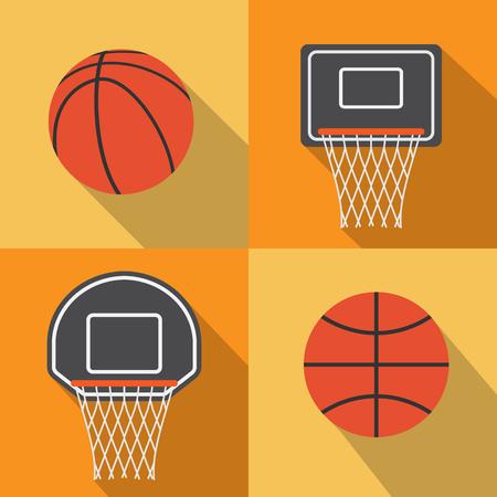 basketball hoop: Basketball flat icon with long shadow,vector