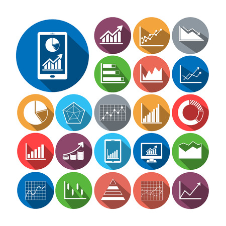 line graph: Flat icons business graph vector collection with long shadow.