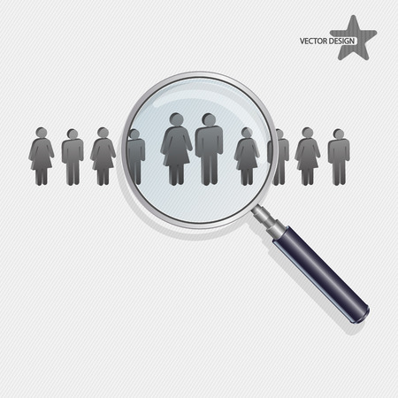 Magnifying glass searching people Vector
