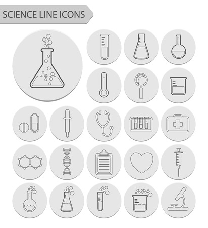 neutrons: Science line icons.vector Illustration