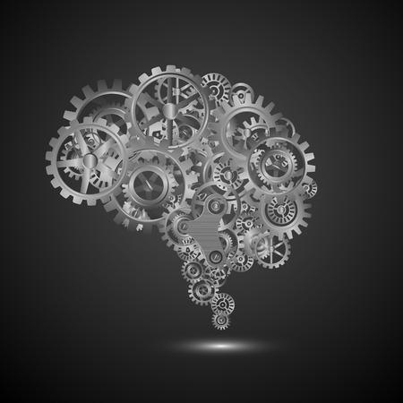 brain works: brain gear.vector Illustration