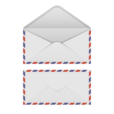postcard back: Air mail envelope on white background.vector