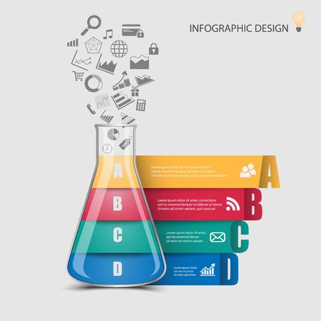 beaker: Tube infographic ,vector Illustration