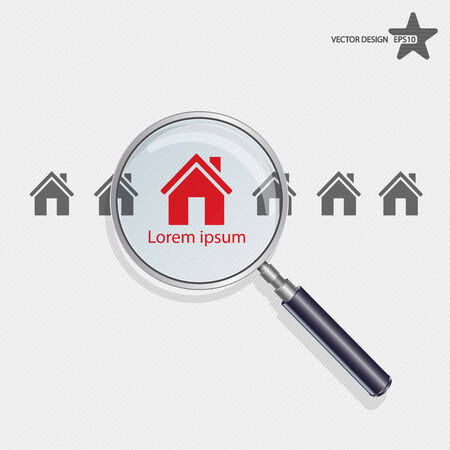housing estate: Vector searching for house of home.