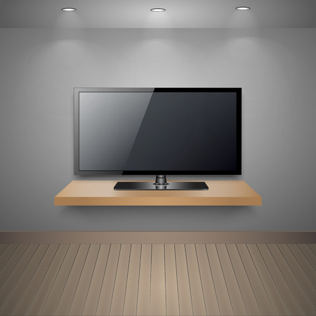 living room wall: Vector TV on wall in modern room, Illustration