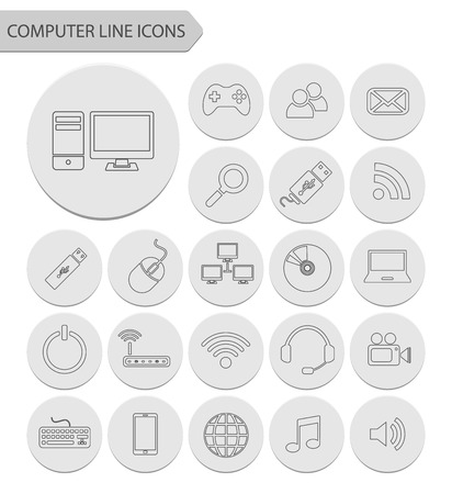 Computer line icons.vector Vector