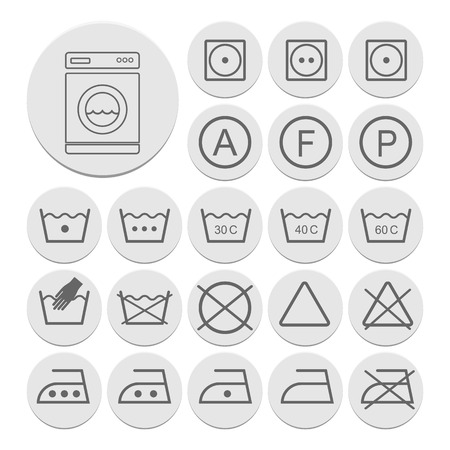 polyester: Icon set of laundry symbols, vector