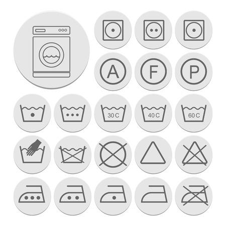 poliester: Icono conjunto de s�mbolos de lavander�a, vector
