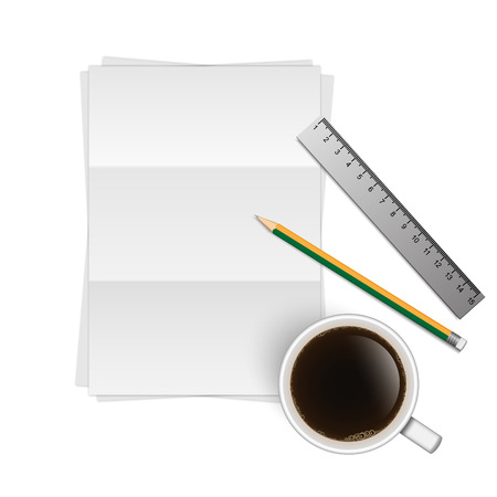 a blank stack of a4 paper, a pencil,a ruler and a coffee cup Vector
