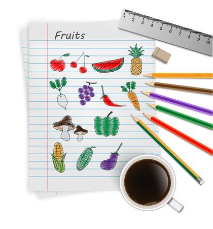 Hand drawn fruit icon set.vector Vector
