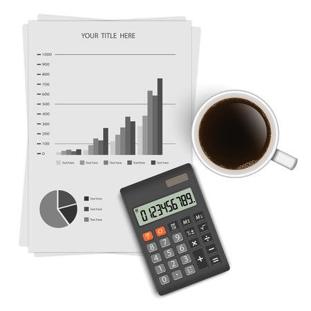 summary: Business graph analysis report with calculator and a coffee cup.vector Illustration