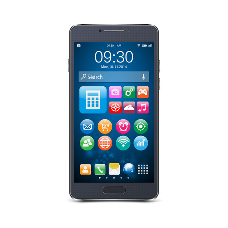 touch screen phone: Vector smart phones with icons isolated.