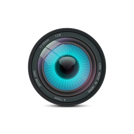 shutter speed: An eye inside of camera lens Illustration