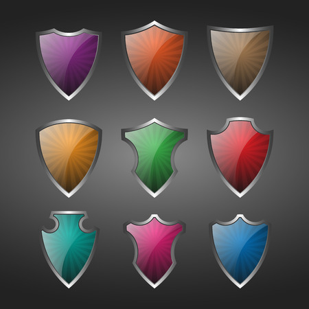 metal shield: Metal shield icon. Vector Illustration