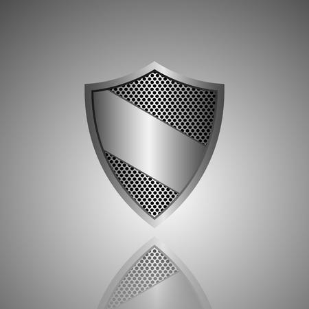 defend: Metal shield icon. Vector Illustration