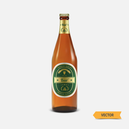 Vector beer bottle with label