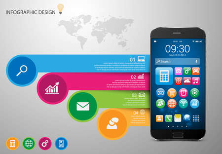 smartphone: Infographic with a touch screen smartphone