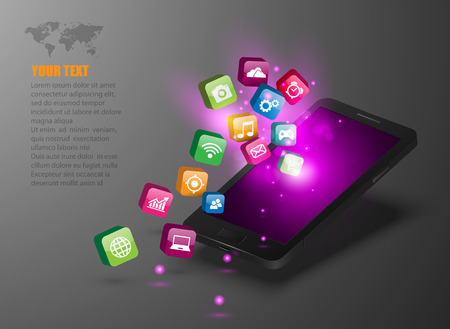 application software: Touchscreen Smartphone with Application Icons. Illustration