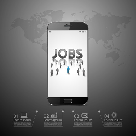 looking for job: people looking for job on smartphone.
