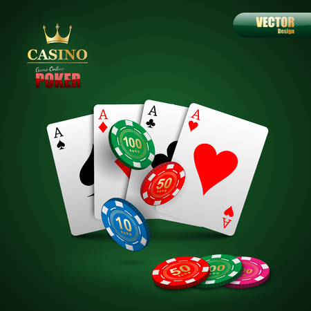 poker card: Vector poker background with playing cards and chips.vector