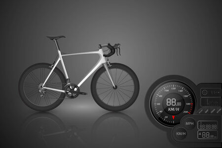 bicycle race: Bicycle with a speedometer