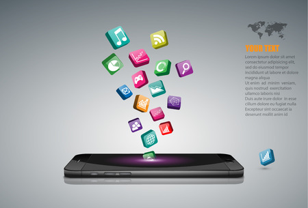 Smartphone tactile avec des icônes d'application. Vecteurs