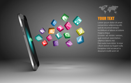 3d icons: Touchscreen Smartphone with Application Icons. Illustration