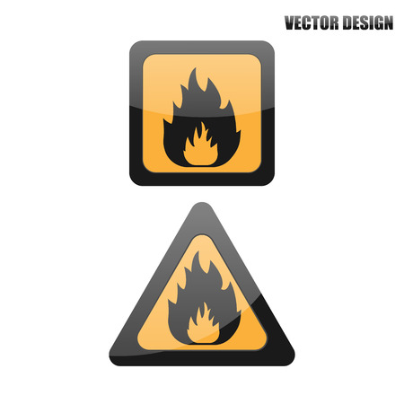 burnable: Vector fire warning sign. Illustration