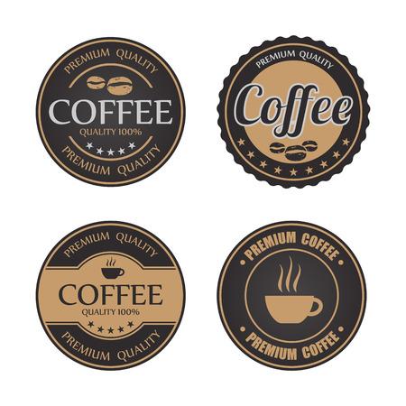 cafe latte: Set of vintage retro coffee badges and labels Illustration