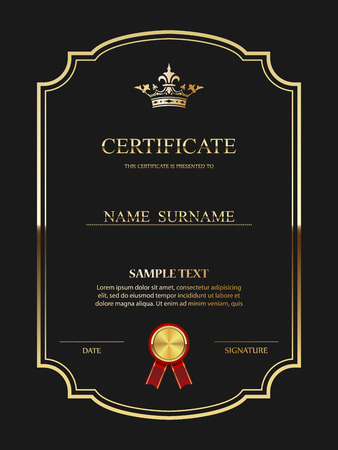gold swirl: Vector certificate template. Illustration