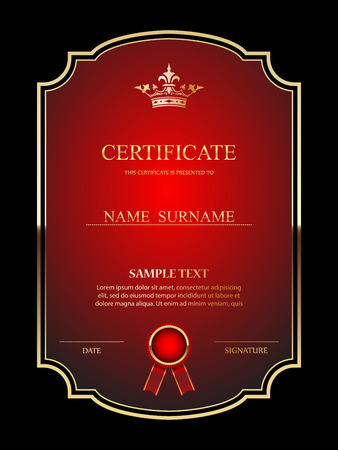 Vector certificate template. Illustration