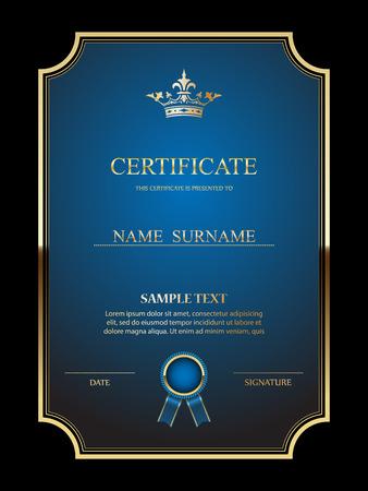 diploma certificate: Vector certificate template. Illustration