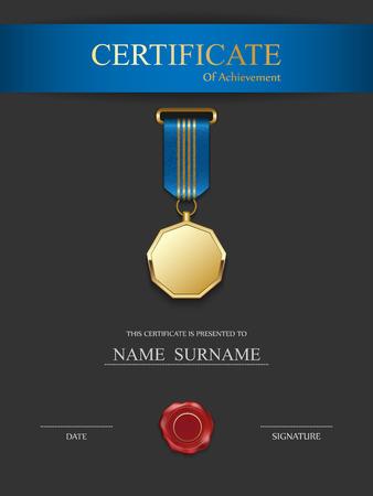 Vector certificate template. Иллюстрация