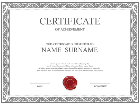 certificate icon: Vector certificate template. Illustration