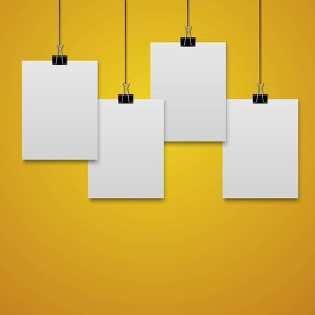 clamps: hanging paper sign.vector